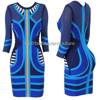dress blue dress blue bandage dress aztec yellow sheer