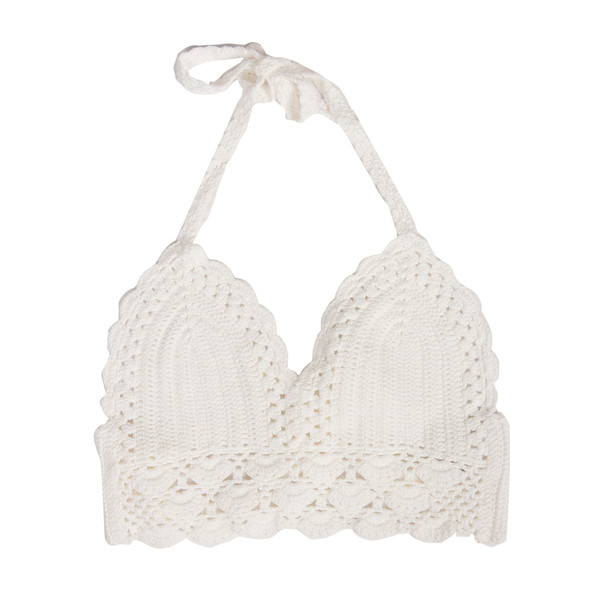 Simple Crochet Cropped Bralette White - Polyvore