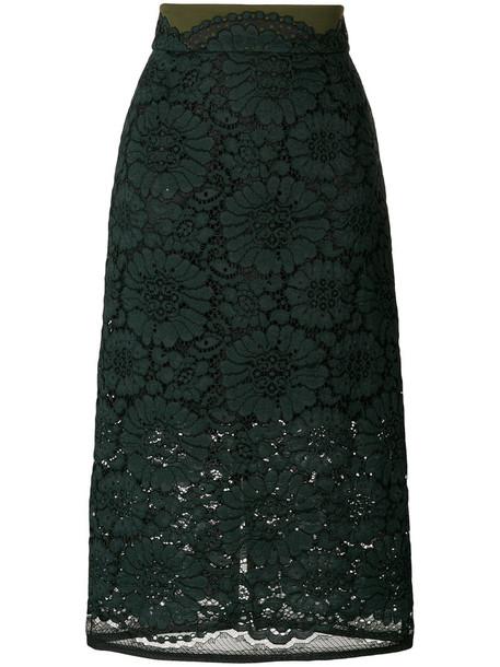 skirt midi skirt women midi lace cotton green