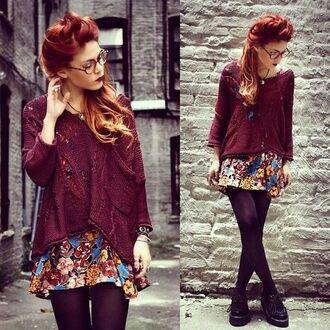 luanna perez le happy shoes girl burgundy floral platform shoes skirt
