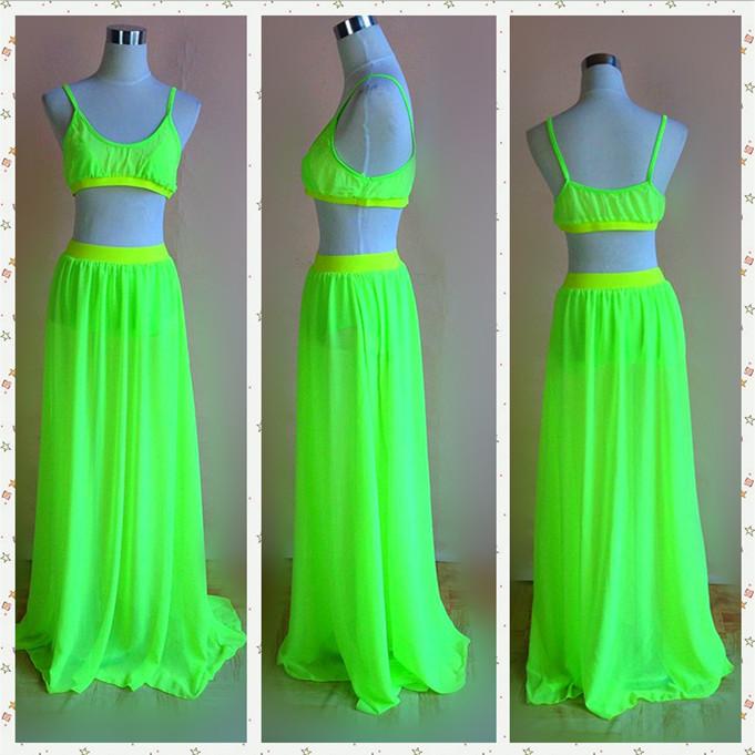 Neon green mesh two piece set