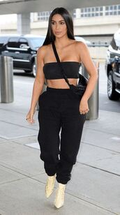 pants,sweatpants,top,bandeau,crop tops,bralette,kim kardashian,kardashians,ankle boots,summer top,strapless