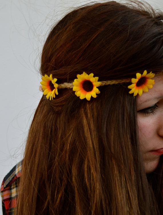 Sunflower flower crown flower halo yellow flower by honeybeecorner
