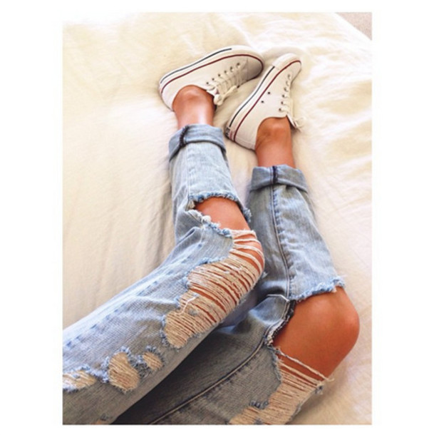 60ca1ec3742 jeans, ripped jeans, converse, converse, light denim, shoes, light ...