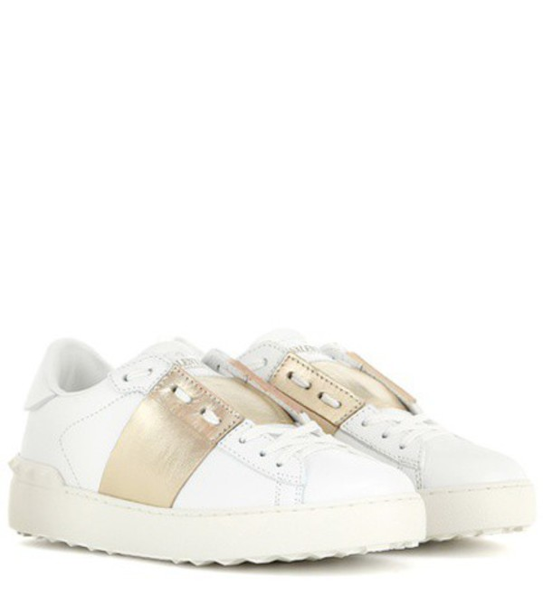 Valentino Open Leather Sneakers in white