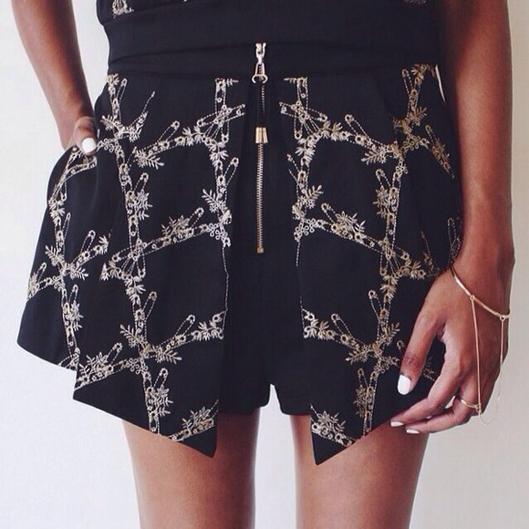 zip pattern shorts