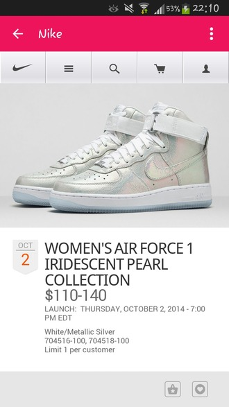 shoes nike iridescent white nike air force grey high top sneakers silver high