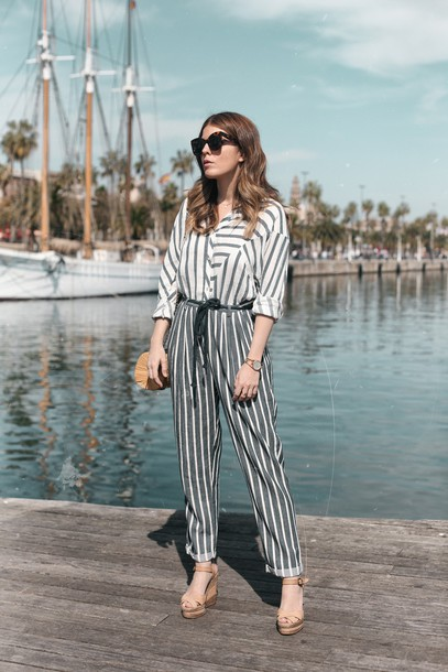 Pants Tumblr Stripes Striped Pants Shirt Striped Shirt Sandals Wedges Wedge Sandals Bag ...