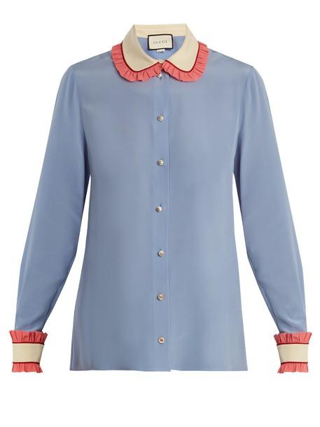 gucci shirt ruffle silk blue top