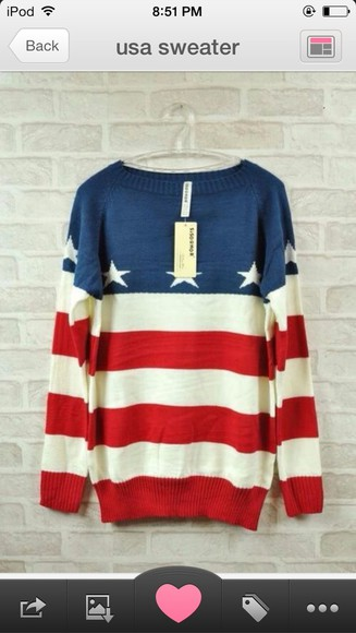 usa red blue sweater white stripped