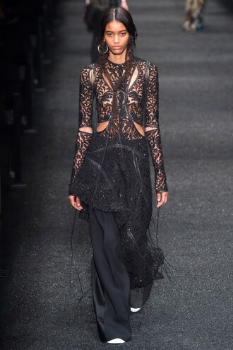 blouse top all black everything pants alexander mcqueen runway fashion week 2017 paris fashion week 2017 see through lace top lace