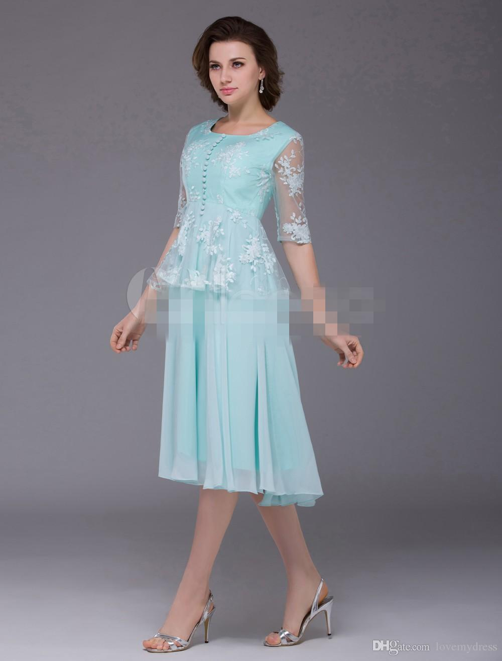 Mother\'S Formal Wear Scoop Neck Long Sleeve Iullsion Bodice Tea ...