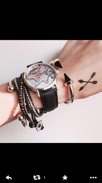 jewels jewelry stacked bracelets spikes arm party arm candy watch bracelets hipster map watch
