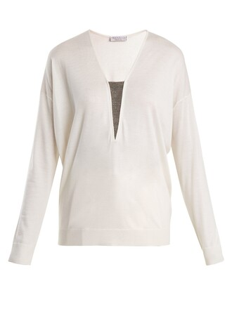 sweater embellished silk