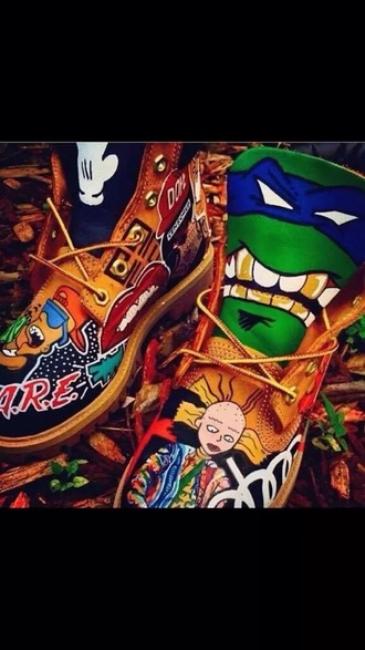 cartoon custom shoes custom timberlands