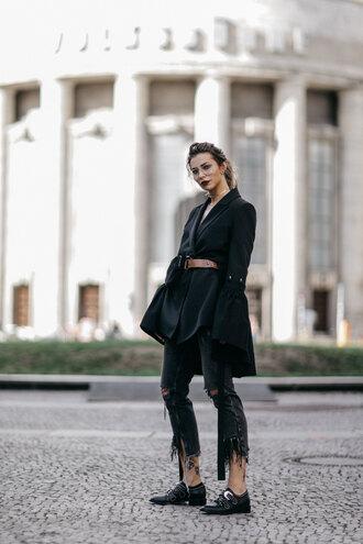 jacket tumblr blazer black blazer belt denim jeans black jeans shoes black shoes