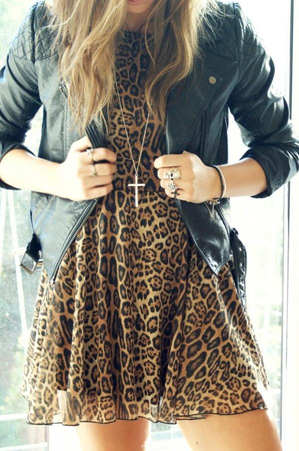 dress clothes leopard print jacket leather jacket black leather jacket leopard print dress jewels
