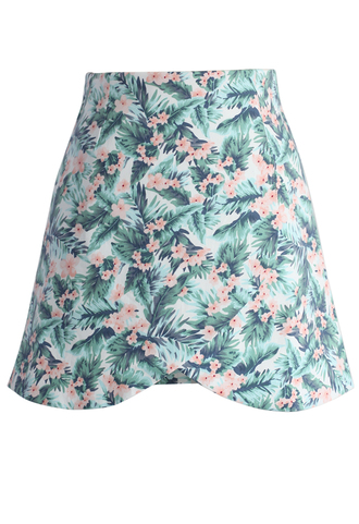 skirt chicwish tropical posies a-line flap skirt a-line skirt floral skirt chicwish.com