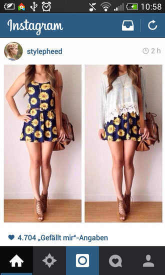 dress cute sunflower bag brown girly fashion lace blue yellow shirt