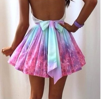 dress tiedie purple pink dipdye skirt skirt everlasting love lucy in the sky colour short open back dress bow bow back dress galaxy dress cute dress