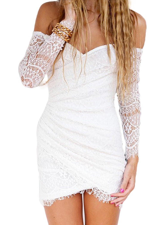 Wildgirl Womens Horizontal Collar Slim Lace Mini Dress | Amazon.com