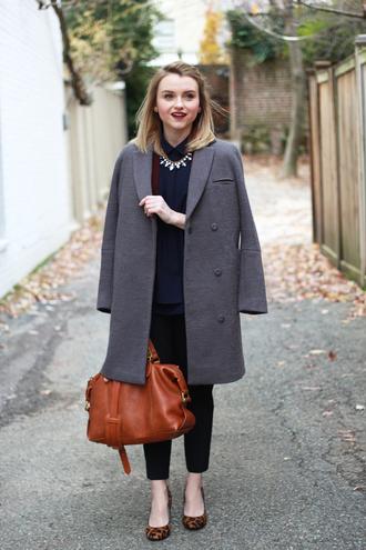 poor little it girl blogger grey coat ballet flats leather bag