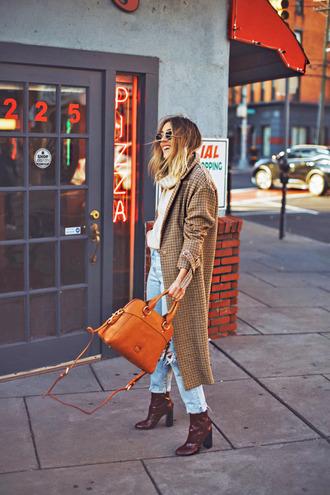 coat tumblr plaid plaid coat long coat camel long coat camel camel coat bag denim jeans blue jeans