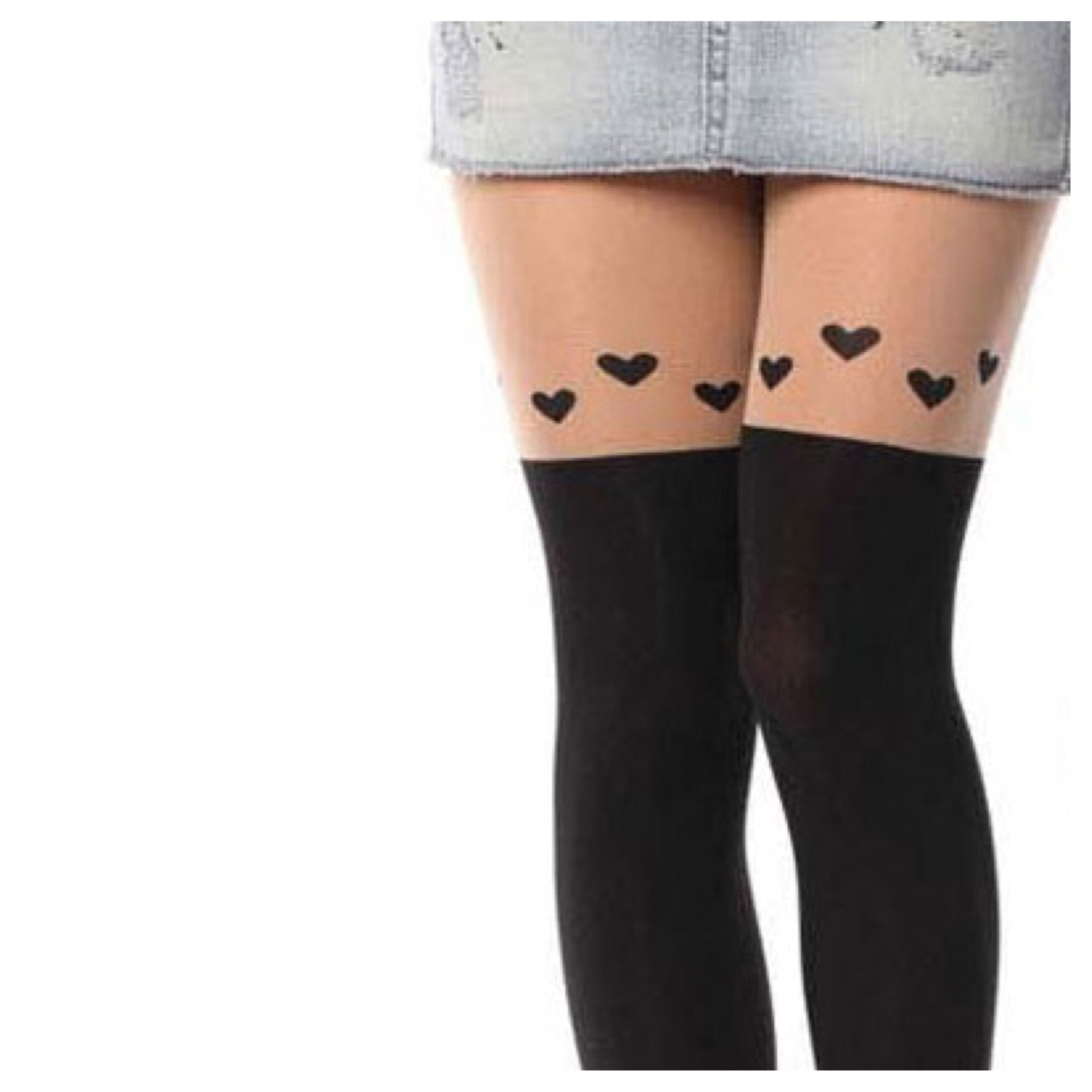Cute Over Knee Heart Tights Stocking From Doublelw On Storenvy