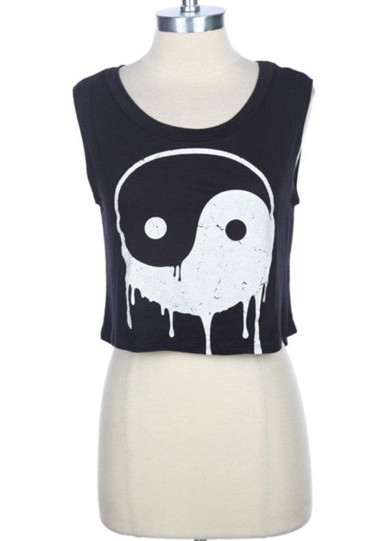 Yin Yang Crop Top Muscle Tank  Black by Shop1VintageSoul on Etsy