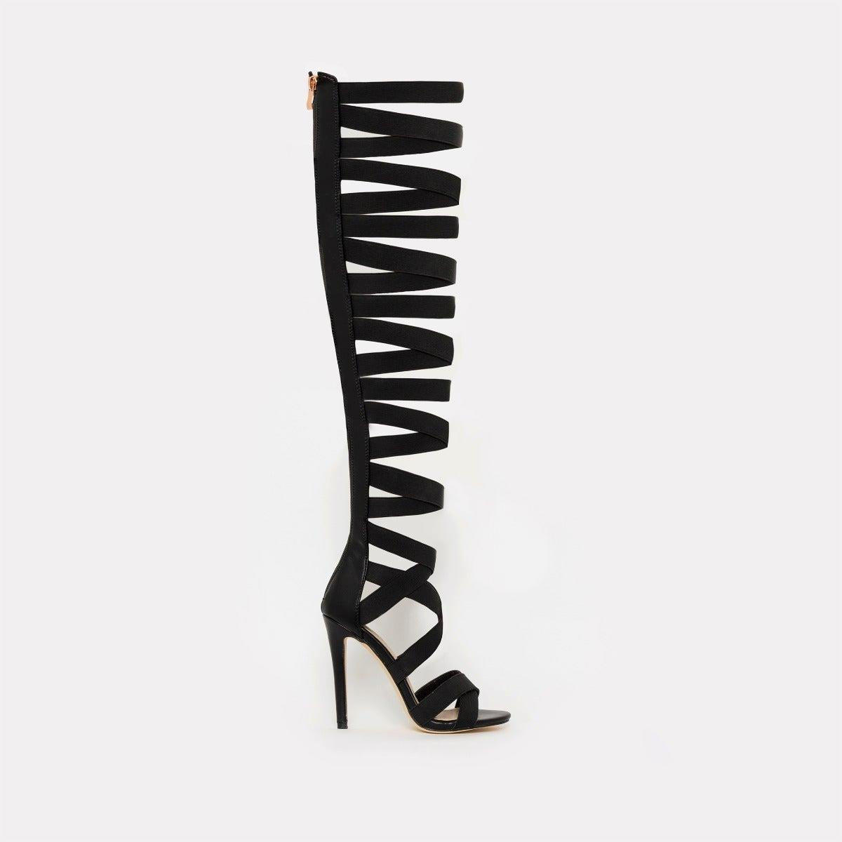 Electra Black Strappy Thigh High Stiletto Heels