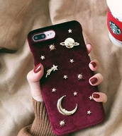 phone cover,girly,iphone cover,iphone case,iphone,velvet,burgundy,tumblr,stars,planets,moon