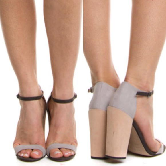 color block shoes high heels ankle strap nude grey