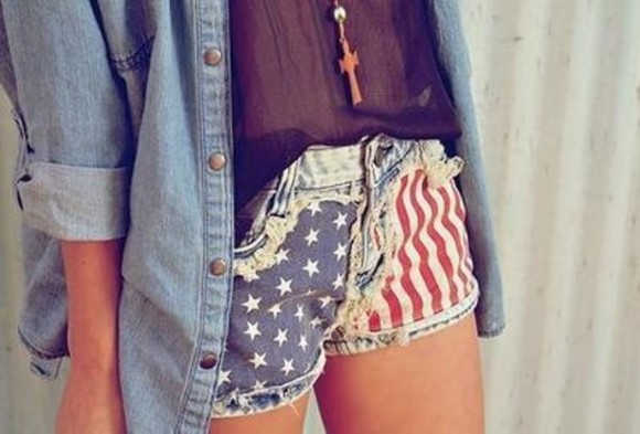 short usa shorts american flag red white and blue