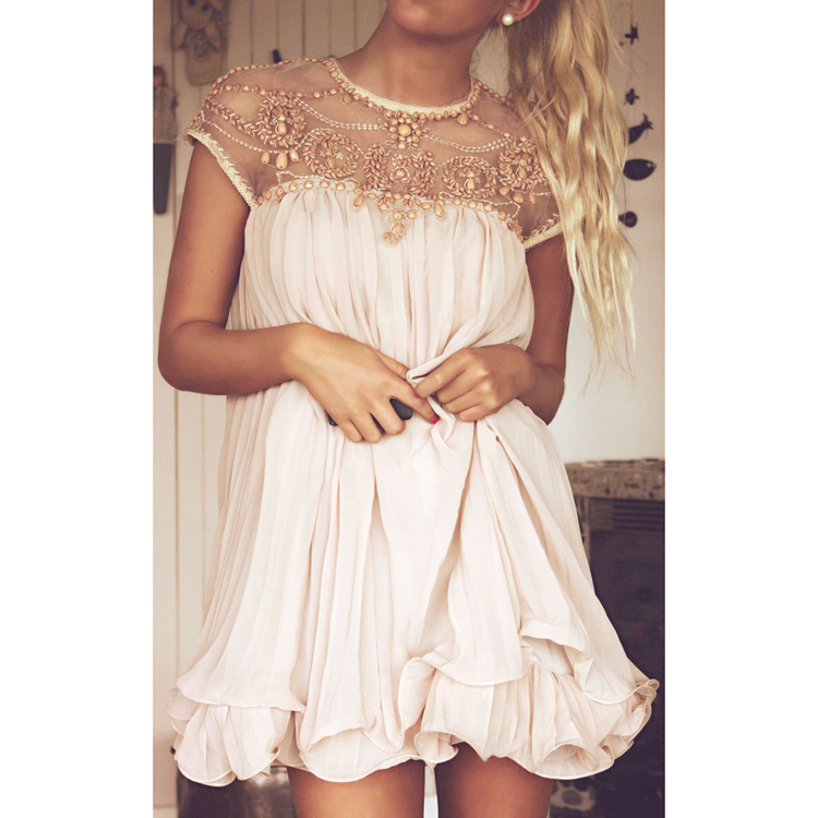 Apricot Short Sleeve Lace Pleated Chiffon Dress