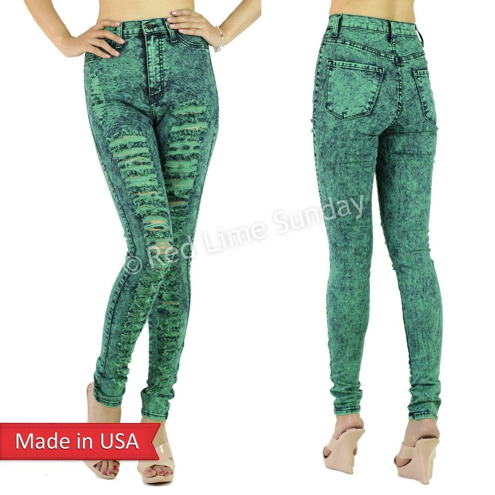 Jade green high waist acid mineral wash denim ripped skinny jean 80s shred pants