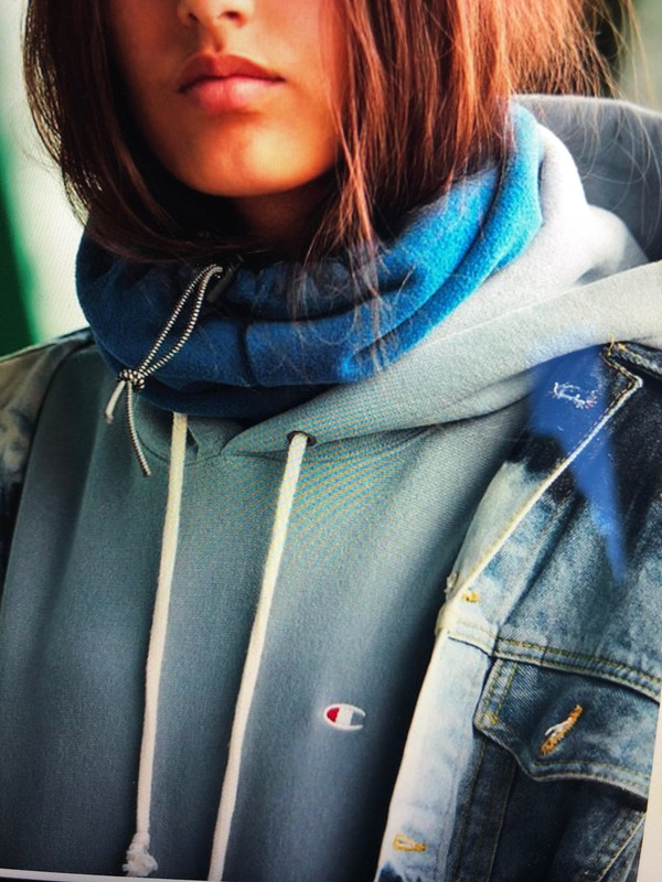 top blue championhoodie hoodie undertop turtleneck fall18 ads fleece shirt pullover fleecetop championad ad