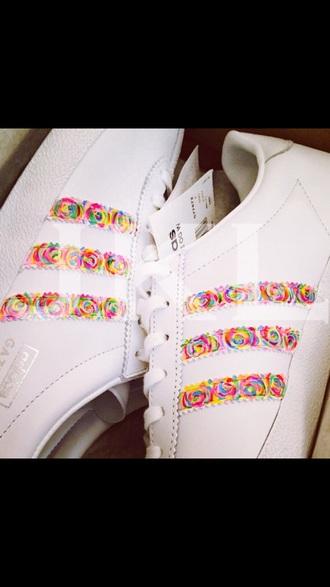 shoes rainbow roses adidas adidas shoes adidas originals adidas superstars rainbow etsy