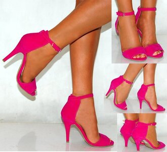 shoes high heels open toes hot pink hot pink high heels strapped high heels
