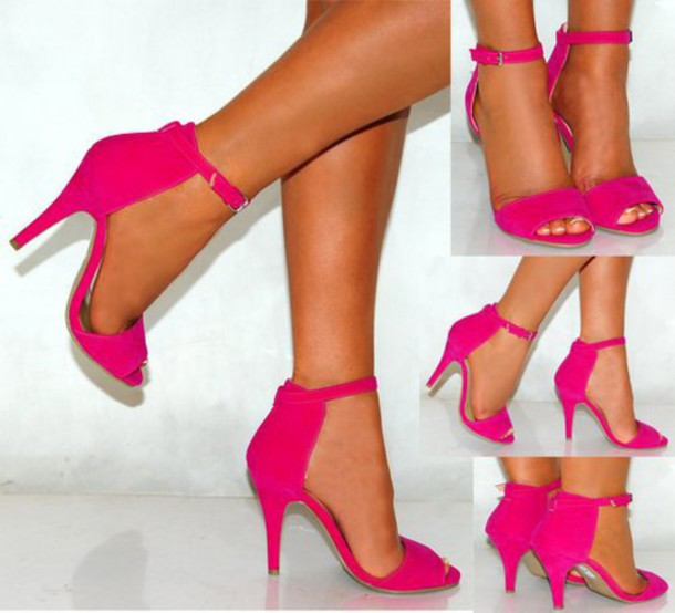 Shoes: high heels, open toes, hot pink, hot pink high heels ...