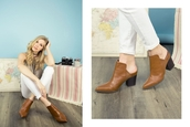 shoes,slip on booties,fashion,pointed toe,chunky heel,classic,trendy,camel,shoe game,qupid