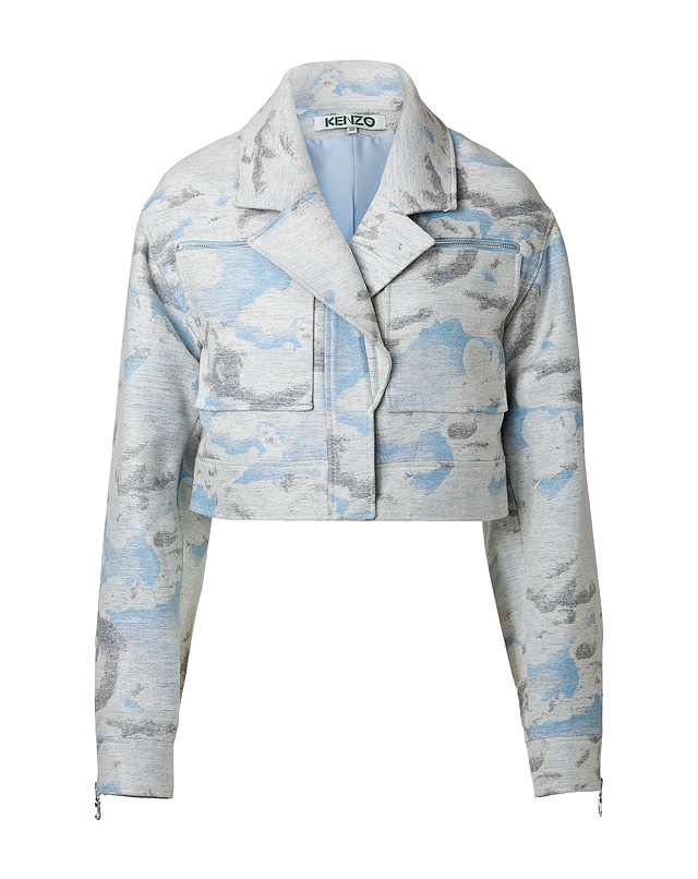 Wool-Silk Blend Cloud Print Biker Jacket from KENZO | Luxury fashion online | STYLEBOP.com
