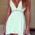 V Plunge Front Dress - White