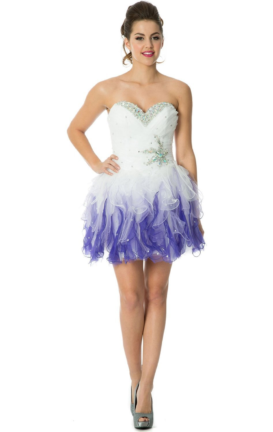 com: EnjoyBuys 2015 Crystal Ruffles Short Prom Dress Junior ...