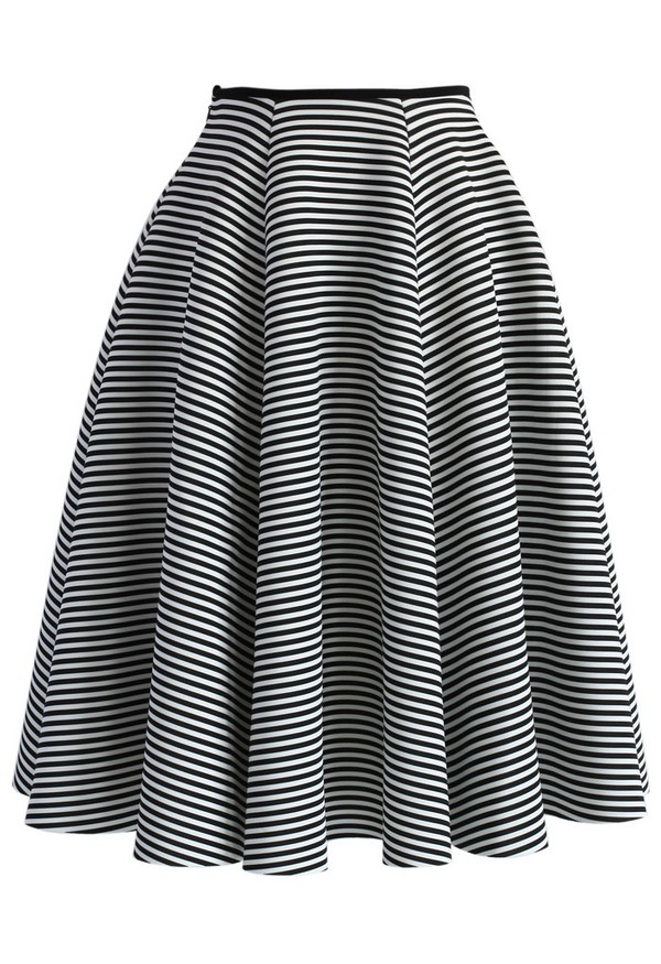 chicwish striped skirt full skirt