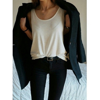 tank top top white jewels belt skinny jeans jeans coat style stylish tumblr cute on point clothing outfit fashion inspo fashion clothes pants red lime sunday