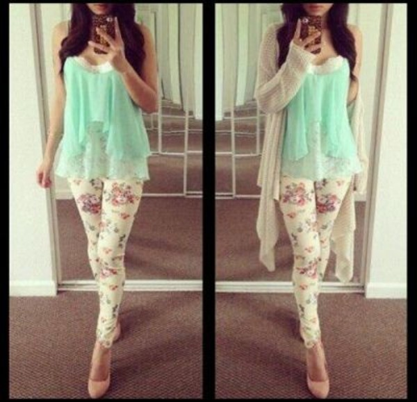 pants floral tank top sweater tumblr clothes white heels high heels floral tank top