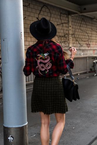 shirt tumblr customized tartan hat felt hat black hat tartan shirt plaid plaid shirt flannel shirt flannel skirt mini skirt checkered bag black bag fall outfits