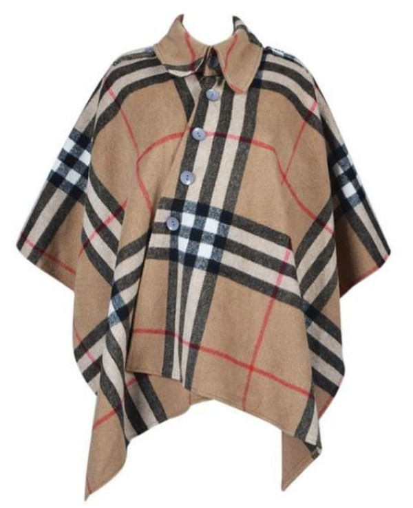 jacket gingham cape asymmetric cape asymmetric coat brown gingham mocha gingham loose cape button cape www.ustrendy.com