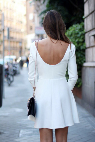 white dress long sleeve dress winter dress winter outfits winter clothes off-white