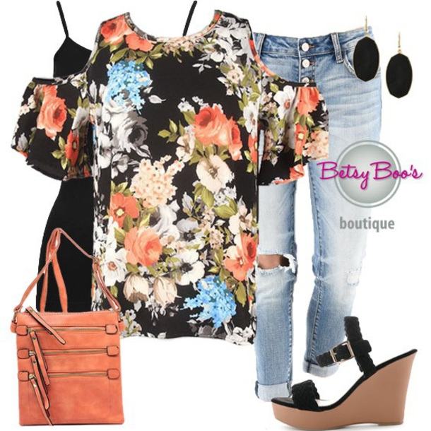 blouse floral cold shoulder top fashion style outfit outfit idea women chic stylish ootd ootn denim shoes jewelry earrings handbag purse